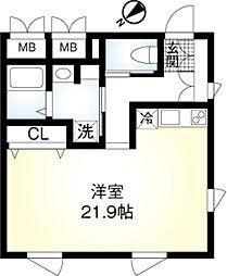 東京メトロ千代田線 明治神宮前駅 徒歩10分の賃貸マンション 3階ワンルームの間取り