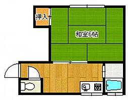 福岡市地下鉄箱崎線 箱崎宮前駅 徒歩4分の賃貸アパート 1階1Kの間取り