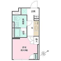 JR京浜東北・根岸線 大井町駅 徒歩6分の賃貸マンション 3階1Kの間取り