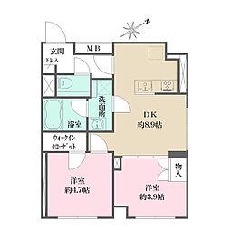 JR京浜東北・根岸線 大井町駅 徒歩6分の賃貸マンション 5階2DKの間取り