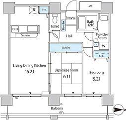 都営大江戸線 勝どき駅 徒歩3分の賃貸マンション 14階2LDKの間取り