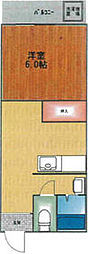 JR高崎線 尾久駅 徒歩5分の賃貸マンション 4階1DKの間取り