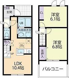 上毛電気鉄道 膳駅 4.2kmの賃貸アパート 1階2LDKの間取り