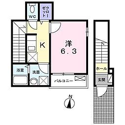 西武新宿線 下井草駅 徒歩4分の賃貸アパート 2階1Kの間取り