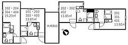 京成本線 新三河島駅 徒歩3分の賃貸アパート 3階ワンルームの間取り