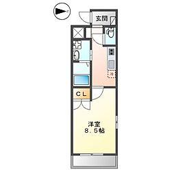 JR横須賀線 新川崎駅 徒歩25分の賃貸マンション 2階1Kの間取り