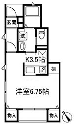 JR中央線 吉祥寺駅 徒歩10分の賃貸アパート 1階1Kの間取り