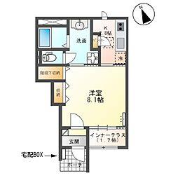 関東鉄道常総線 西取手駅 徒歩12分の賃貸アパート 1階1Kの間取り