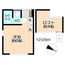 レーヴ西横浜 1階ワンルームの間取り