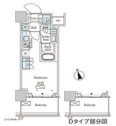 JR山手線 大塚駅 徒歩2分の賃貸マンション 20階ワンルームの間取り