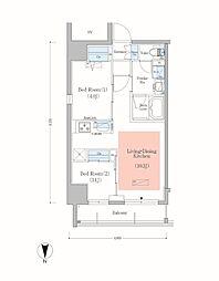JR総武本線 錦糸町駅 徒歩8分の賃貸マンション 7階2LDKの間取り