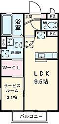 JR東北本線 宇都宮駅 バス13分 月見ヶ岡児童公園前下車 徒歩7分の賃貸アパート 1階1SKの間取り