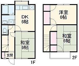 東武伊勢崎線 一ノ割駅 徒歩10分の賃貸テラスハウス 1階3DKの間取り