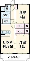 東武宇都宮線 東武宇都宮駅 4kmの賃貸マンション 2階2LDKの間取り
