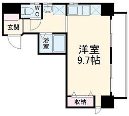 JR東海道本線 小田原駅 徒歩8分の賃貸マンション 4階ワンルームの間取り