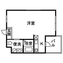 JR東海道本線 小田原駅 徒歩10分の賃貸マンション 5階1Kの間取り