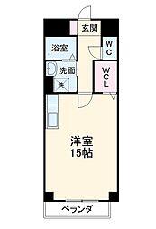 名鉄犬山線 大山寺駅 徒歩16分の賃貸マンション 3階ワンルームの間取り