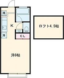 東中野・ハイツ 1階ワンルームの間取り