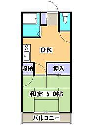 西武新宿線 狭山市駅 バス10分 新富士見橋下車 徒歩3分の賃貸マンション 2階1DKの間取り