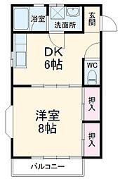 コーポ江藤 2階1DKの間取り