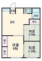 ロネット早川II 2階3DKの間取り