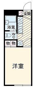 間取り,1K,面積19.87m2,賃料4.6万円,JR埼京線 与野本町駅 バス13分 在家橋通り下車 徒歩2分,,埼玉県さいたま市桜区大字白鍬