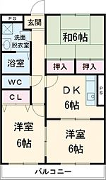 JR成田線 成田駅 徒歩16分の賃貸マンション 3階3DKの間取り
