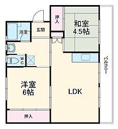 成田スカイアクセス 成田湯川駅 徒歩24分の賃貸マンション 4階2LDKの間取り