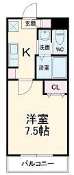 名鉄常滑線 柴田駅 徒歩4分の賃貸マンション 4階1Kの間取り