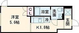 東急田園都市線 桜新町駅 徒歩9分の賃貸マンション 1階1Kの間取り