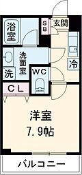 東急田園都市線 桜新町駅 徒歩13分の賃貸マンション 4階1Kの間取り