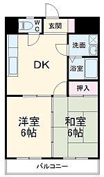 JR京浜東北・根岸線 港南台駅 徒歩7分の賃貸マンション 3階2DKの間取り