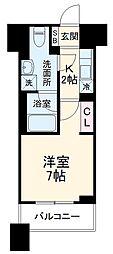 東急東横線 武蔵小杉駅 徒歩3分の賃貸マンション 6階1Kの間取り