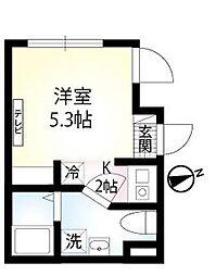 京急本線 六郷土手駅 徒歩7分の賃貸マンション 2階1Kの間取り