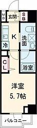 AXASレジデンス目黒東 2階1Kの間取り