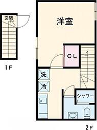 JR山手線 大崎駅 徒歩6分の賃貸アパート 2階1Kの間取り