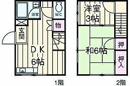 横浜市営地下鉄ブルーライン 三ツ沢上町駅 徒歩13分の賃貸テラスハウス 1階2DKの間取り