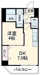 WilliamV 4階1DKの間取り