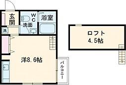 京王井の頭線 井の頭公園駅 徒歩16分の賃貸アパート 2階ワンルームの間取り