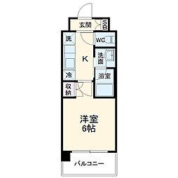ハーモニーレジデンス武蔵小杉 4階1Kの間取り