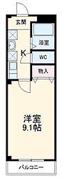 名鉄瀬戸線 旭前駅 徒歩9分の賃貸マンション 4階1Kの間取り