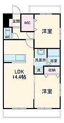 JR東海道本線 静岡駅 バス20分 羽鳥団地前下車 徒歩7分の賃貸マンション 1階2LDKの間取り