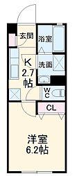静岡鉄道静岡清水線 桜橋駅 徒歩5分の賃貸アパート 1階1Kの間取り