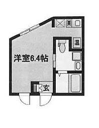 東京メトロ丸ノ内線 中野新橋駅 徒歩8分の賃貸マンション 3階ワンルームの間取り