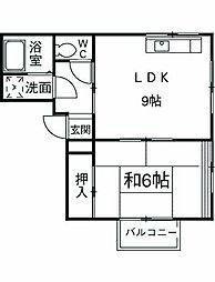 JR東海道本線 早川駅 徒歩2分の賃貸アパート 1階1DKの間取り