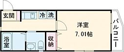 JR常磐線 亀有駅 徒歩13分の賃貸マンション 1階1Kの間取り