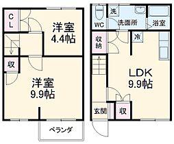 リレント谷塚テラスハウス 1階2DKの間取り