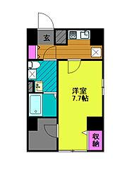 東京メトロ千代田線 綾瀬駅 徒歩8分の賃貸マンション 4階1Kの間取り