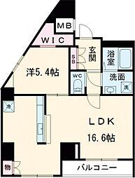 京王線 八幡山駅 徒歩9分の賃貸マンション 6階1LDKの間取り