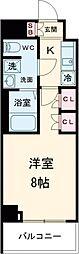 京王線 八幡山駅 徒歩9分の賃貸マンション 4階1Kの間取り